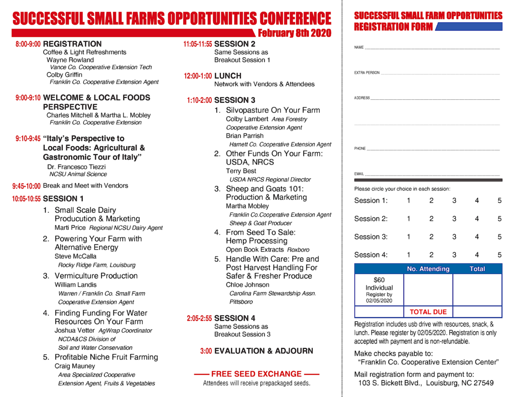 Image of the Successful Small Farms Opportunities Conference Registration form listing registration details, breakout sessions and speakers.