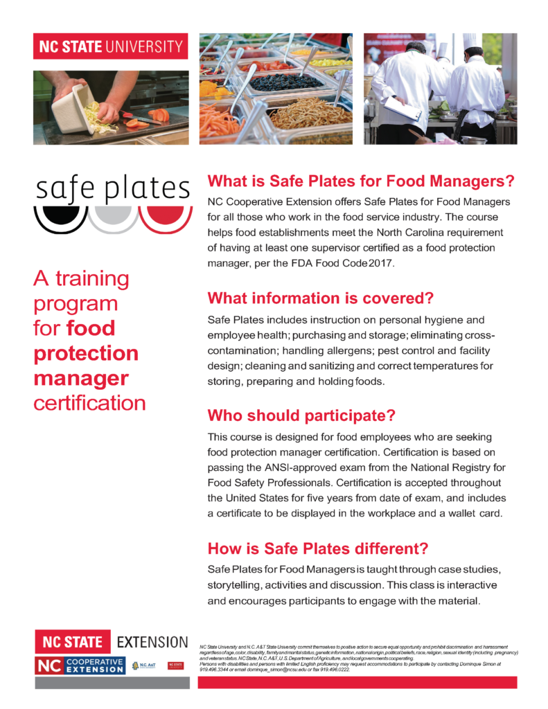 Image of Safe Plates informational flyer explaining what Safe Plates program is, who should participate, types of information covered.