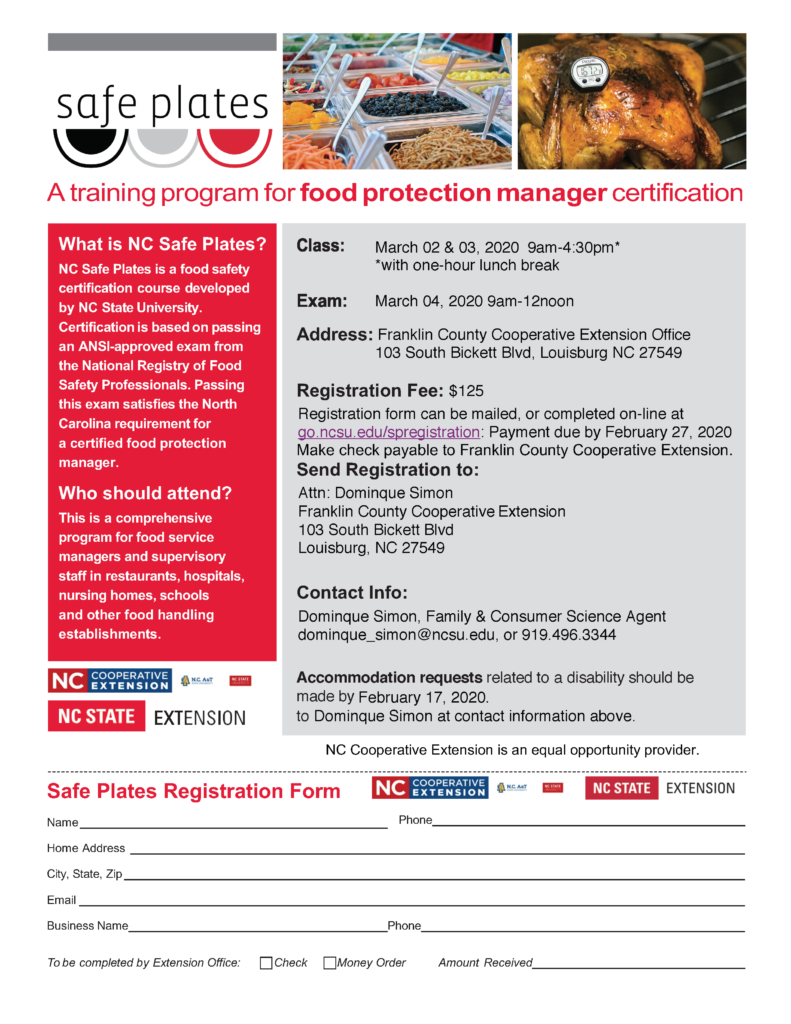 Image of Safe Plates informational flyer with registration form with date, time and location and contact information.