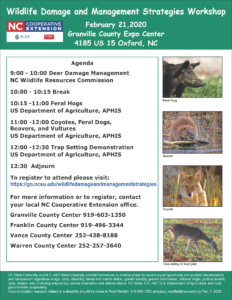 IImage of the Wildlife Damage workshop flier with date, time, location and, topics and registration information