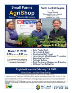 image of Small Farms AgriShop flyer with topics, date, time, location and registration information.