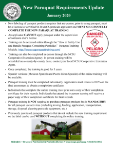 image of paraquat requirements flier including photo of a tractor, and details on accessing paraquat training online, in-person and accommodations for Hispanic version of the training.