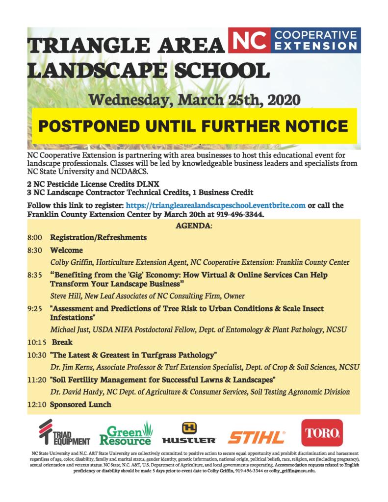 image of Triangle Area Landscape School flyer postponement information.