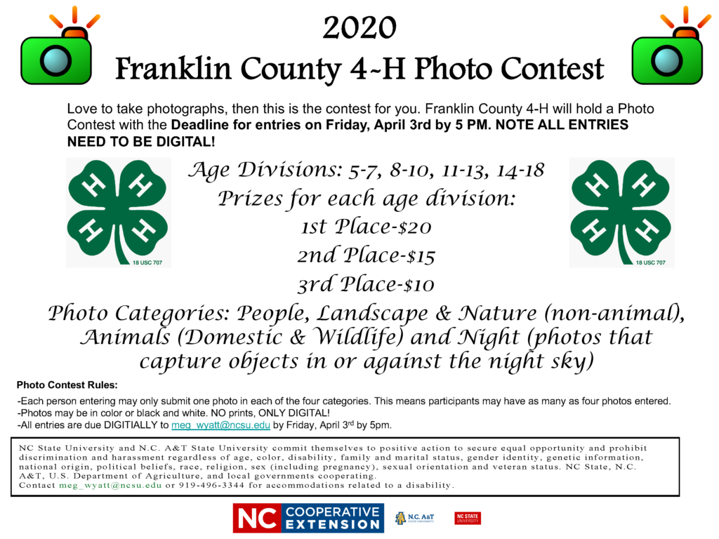 image of the 2020 Franklin County 4-H Photo Contest flyer with contest entry information and rules