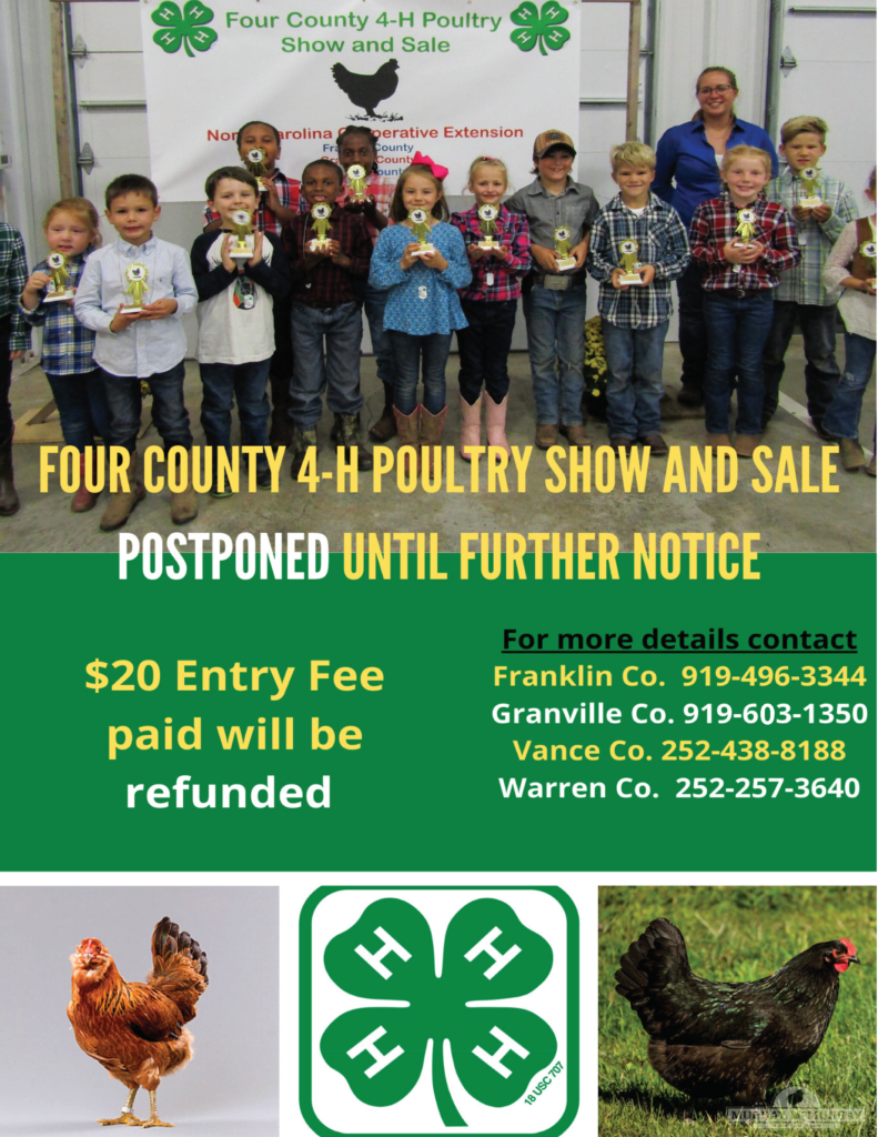 Image of the 2020 Poultry Show Postponement flyer with county extension office phone number and information about refunds