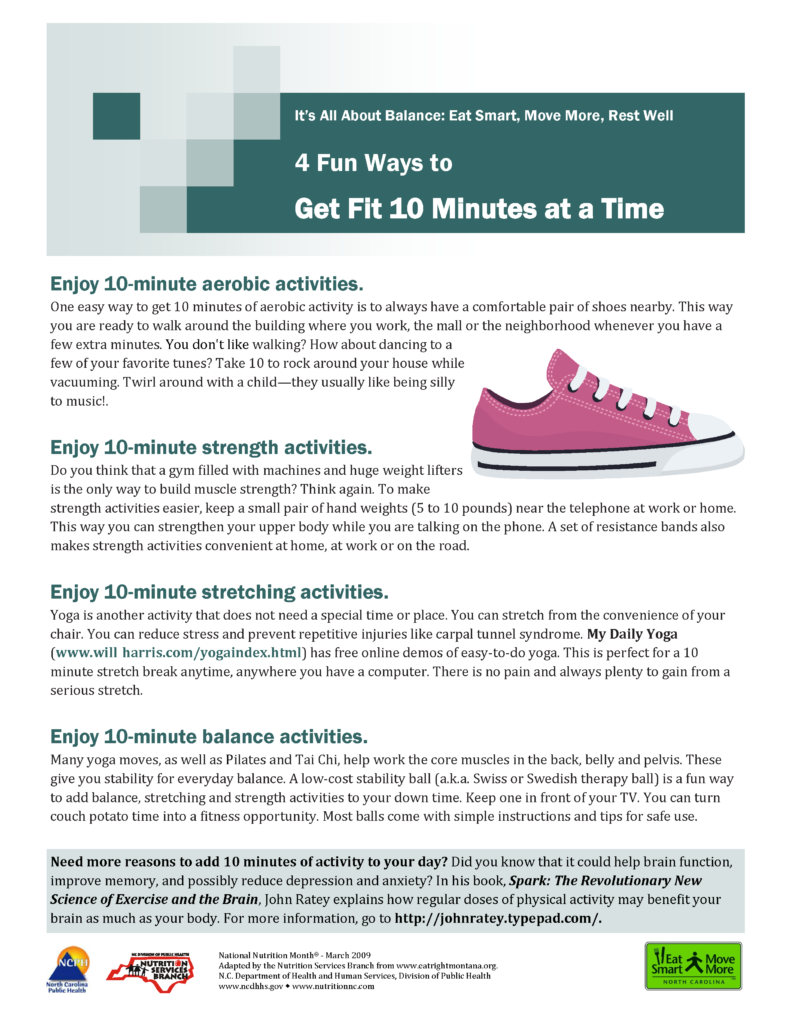 Image of It's All About Balance: Eat Smart, Move More, Rest Well 4 Fun Ways to Get Fit 10 Minutes at a Time flyer with 4 different 10 minute exercises