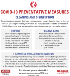 imade of Coronavirus defense flyer with a list of cleaning tips with listing of tips to follow to prevent viral respiratory diseases and COVID-19.