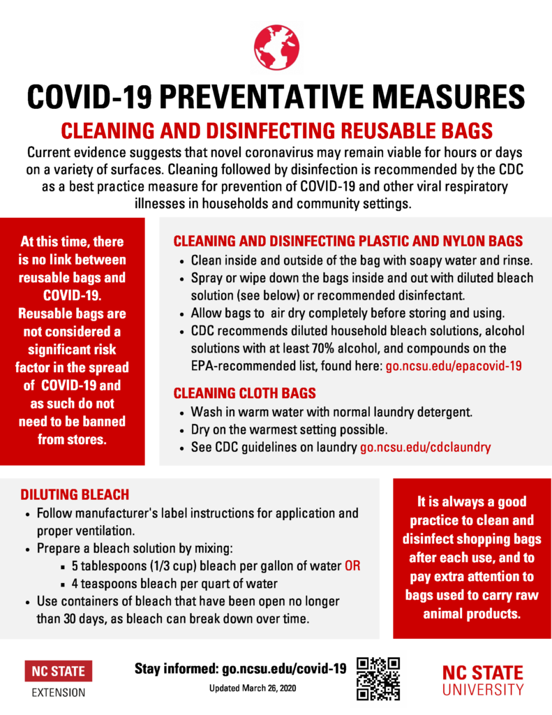 Image of COVID-19 fact sheet with infor. about Cleaning & Disinfecting Reusable Bags