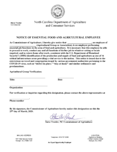 image of page 1 of NC Dept. of Agriculture & Consumer Services work authorization for essential employees.