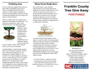 Image of 2020 Franklin County Tree Giveaway Brochure page 2 with postponement announcement, and location and info. about bald cypress, eastern redbud, Black walnut, Cherrybark oak and planting trees.
