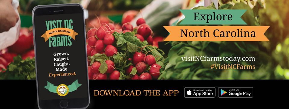 Explore NC Farms smartphone app banner with vegetables in background