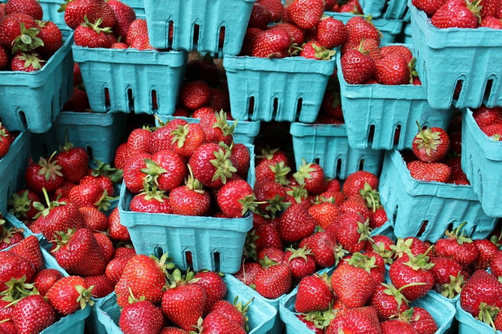 image of dozens ofboxes of fresh red strawberries