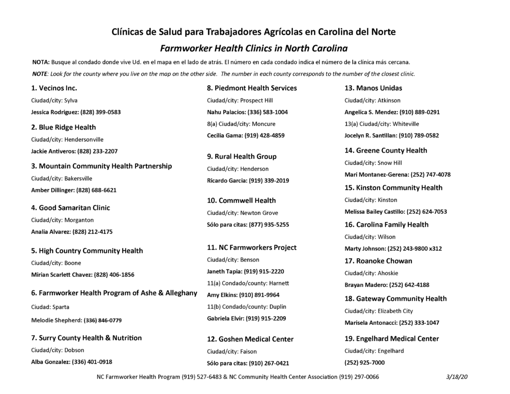 NC Farmworker Health Clinics in NC list page 1