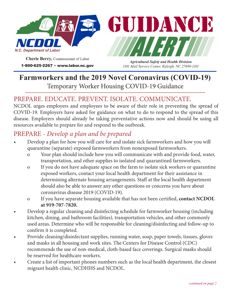 Farmworkers and Temporary Worker Housing COVID-19 Guidance page 1