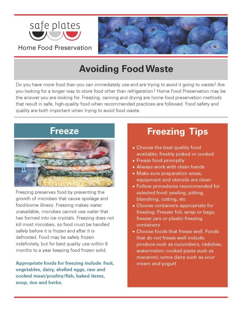 avoiding food waste fact sheet page 1