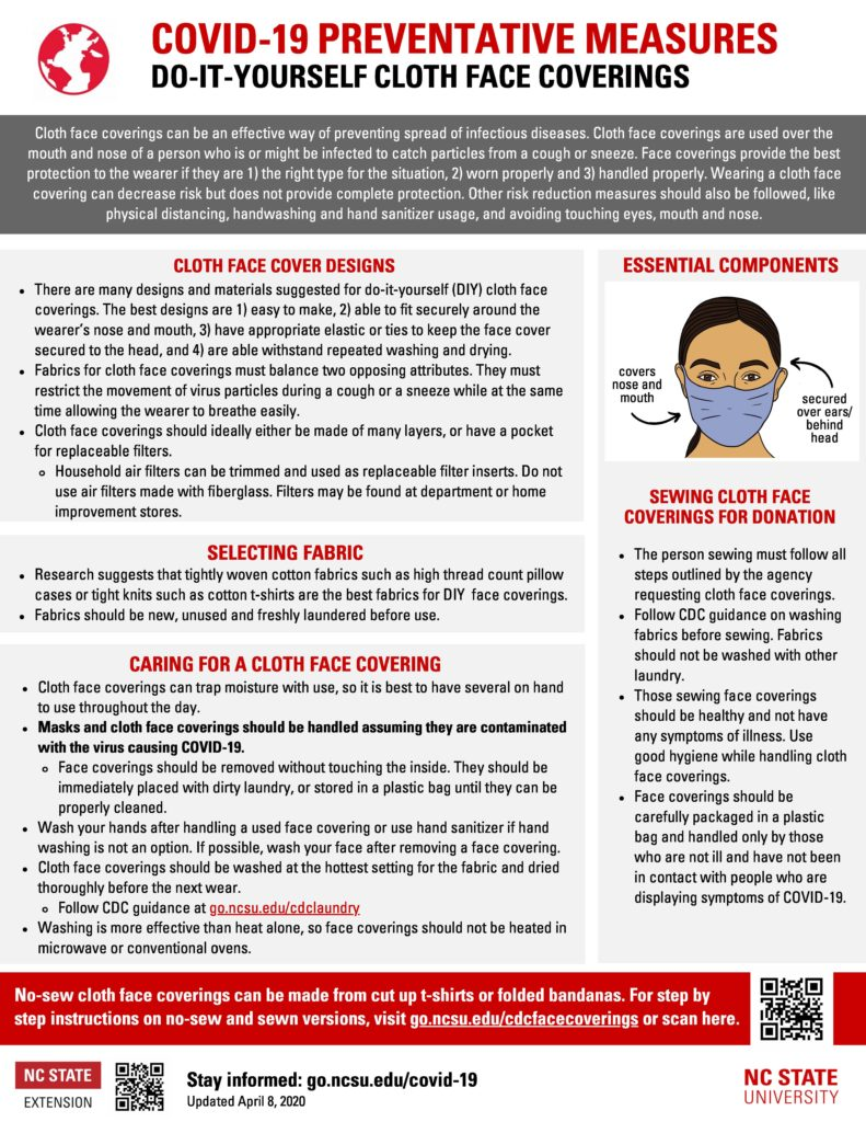 Do it yourself cloth face covering COVID-19 fact sheet