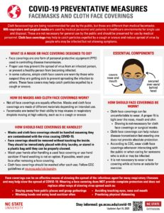 Facemasks and cloth face coverings fact sheet and woman wearing a facemask