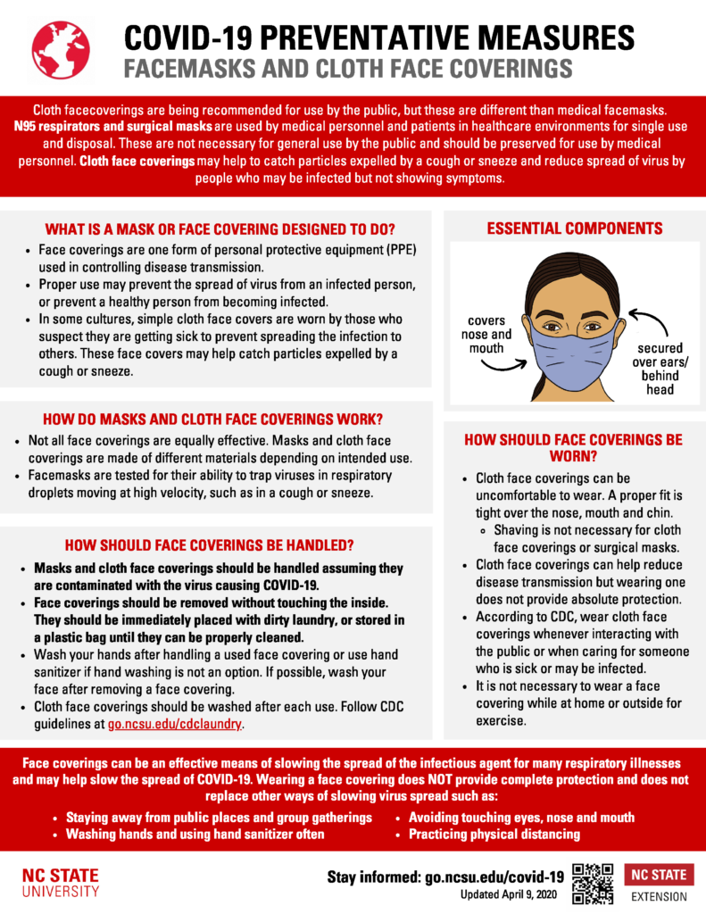 COVID-19 Face mask and face coverings preventative measures fact sheet with recommendations and image of a woman wearing a face mask.