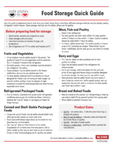 Image of safeplates food storage and preparation guide for fruits, vegetables, canned foods, daisy, meats and eggs, refrigerated and packaged foods.