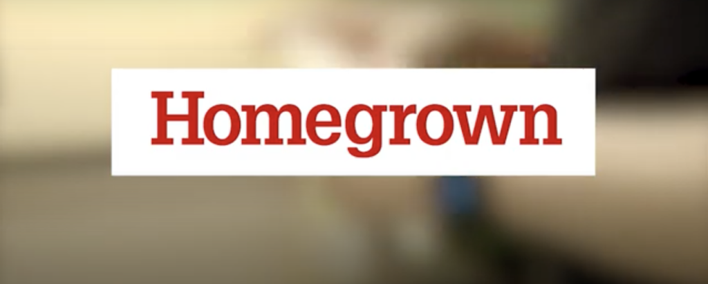 Image of the NC State Extension Homegrown logo screenshot of first frame of the video on sanitizing surfaces