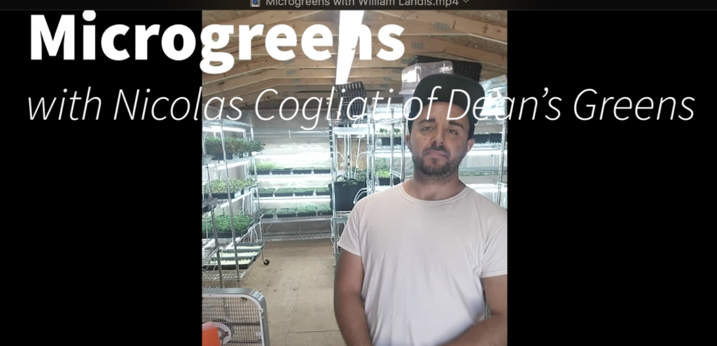 image of the first frame screenshot from Microgreens video with an image of Nic Cogliati standing in his greenhouse.