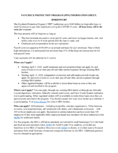 Image of page 1 of the Paycheck Protection Program Fact Sheet