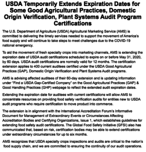 Image of USDA post about USDA Temporarily Extends Expiration Dates for Some Good Agricultural Practices, Domestic Origin Verification, Plant Systems Audit Program Certifications
