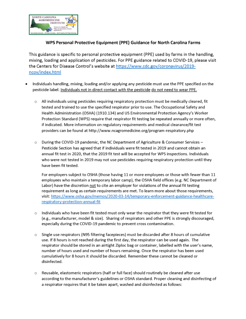 WPS Personal Protective Equipment (PPE) Guidance for North Carolina Farms Page 1