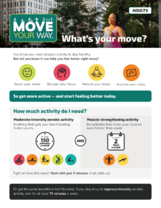 What's Your Move? Move your Way flyer page 1 with activity tips for adults