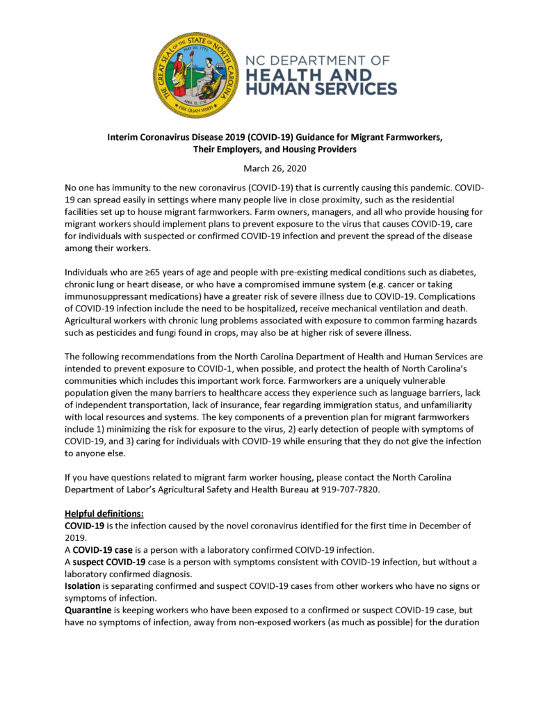 Interim Coronavirus Disease 2019 (COVID-19) Guidance for Migrant Farmworkers, Their Employers, and Housing Providers page 1