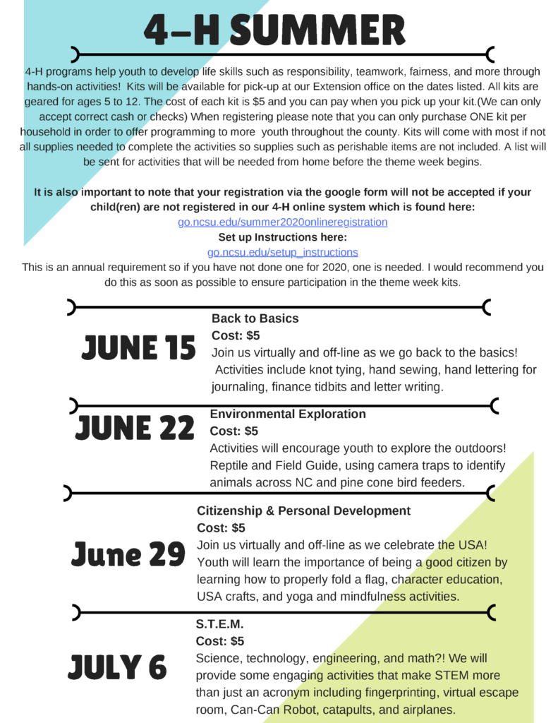 4-H Summer Sessions flyer page 2