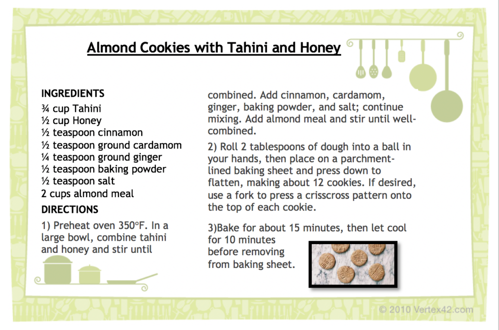Almond Cookies with Tahini and Honey recipe