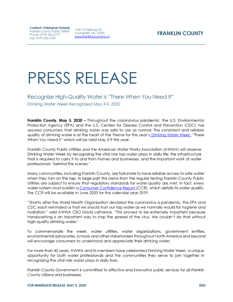 Franklin County Drinking water press release