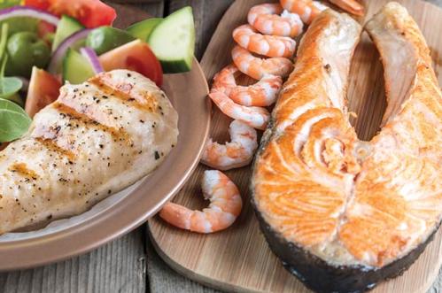 salmon, shrimp and salad