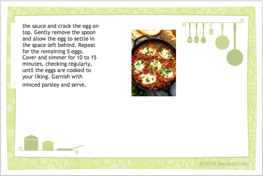 Shaksouka recipe card page 2