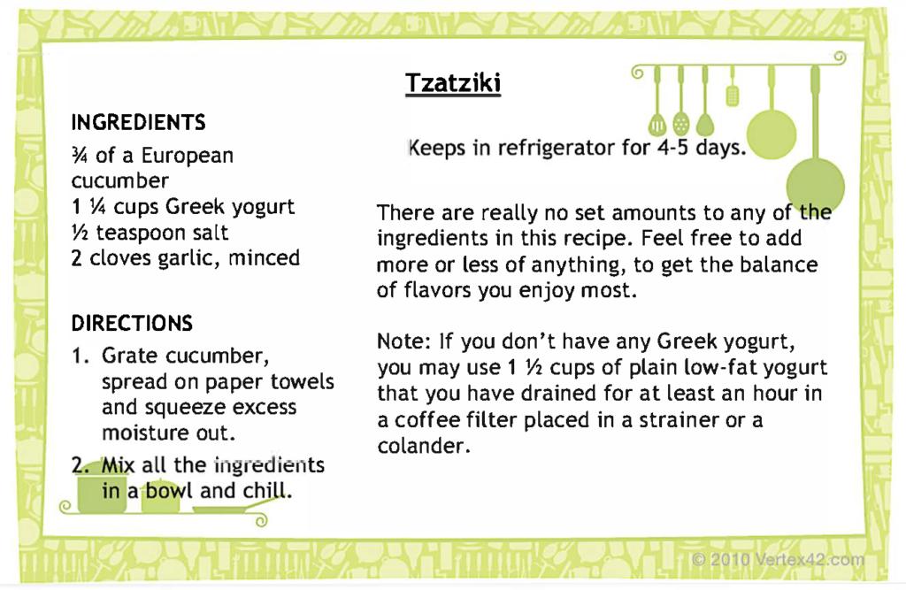 Tzatziki recipe card