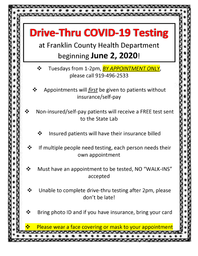 Franklin County Health Department Drive-Thru Testing Flyer