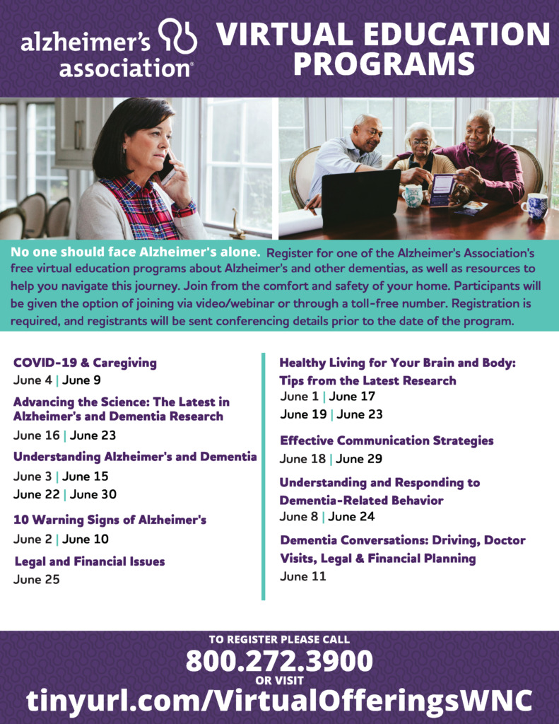 Alzheimer's association Virtual Education Programs