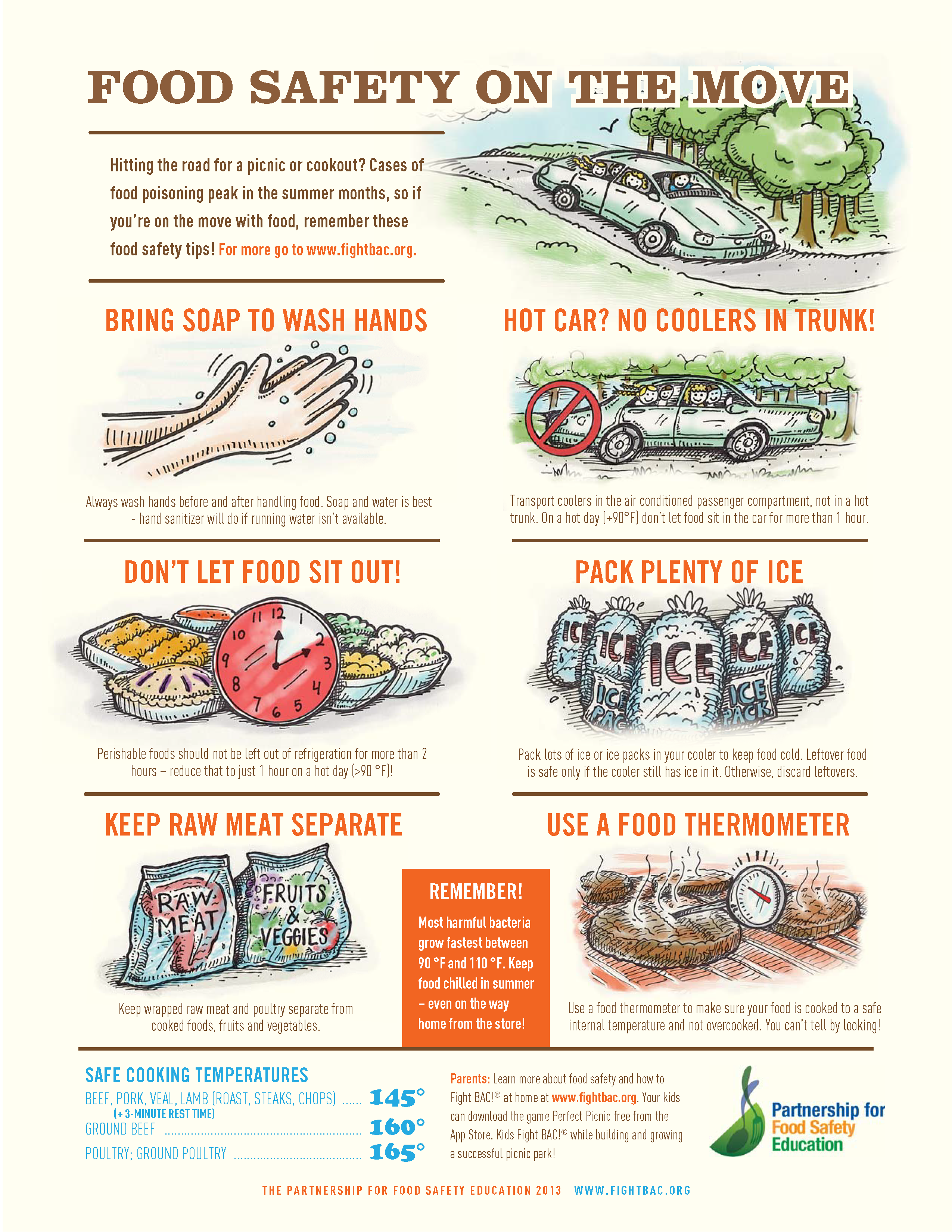 Food Safety On the Move Tips flyer