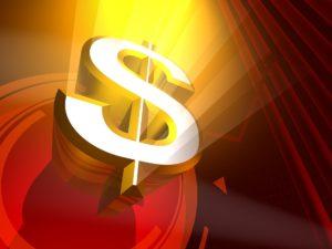 3-D golden dollar sign