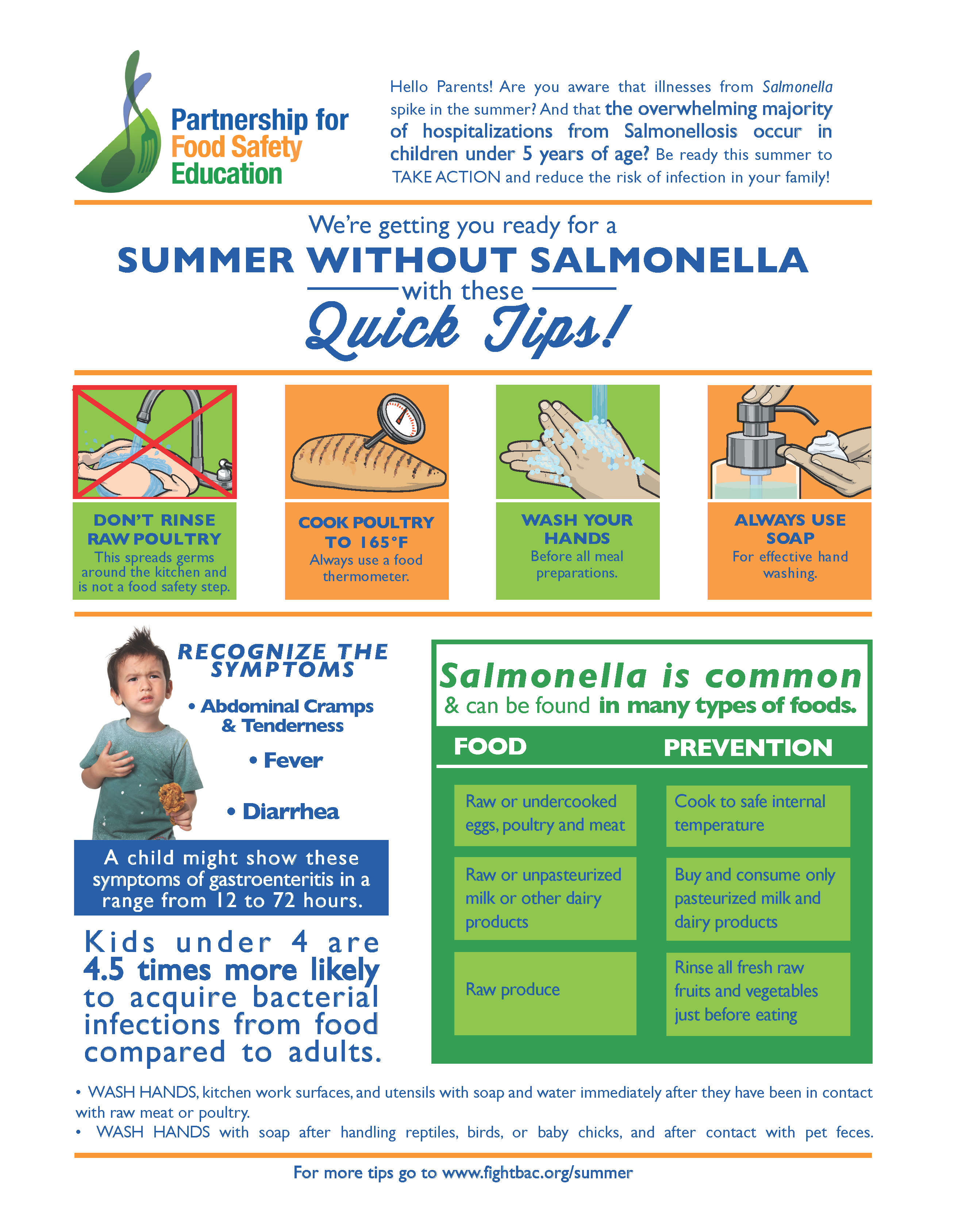 Summer without Salmonella Tips flyer