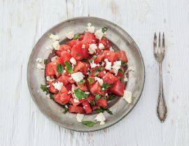 watermelon, feta and olive oil salad photo