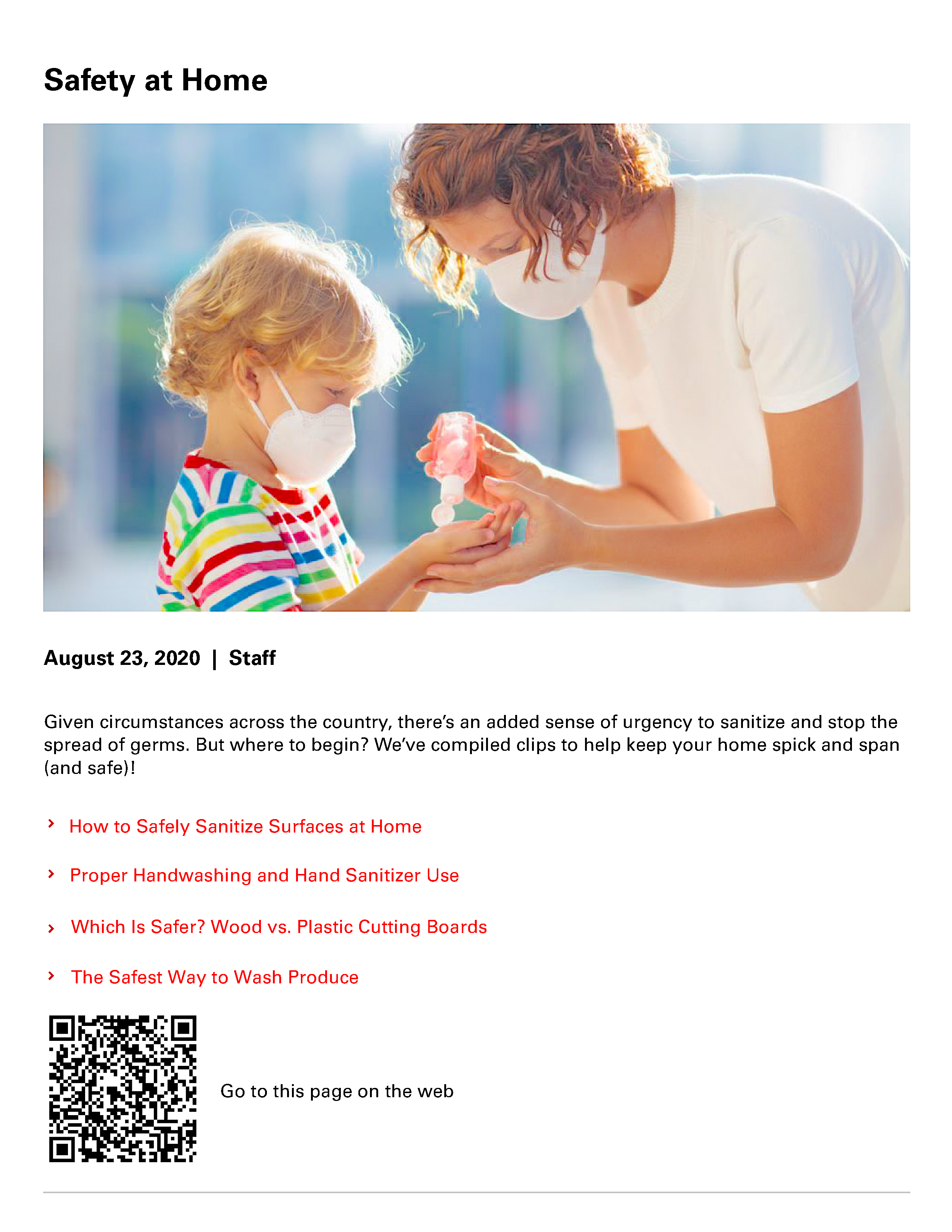 Safety at Home flyer and QR code