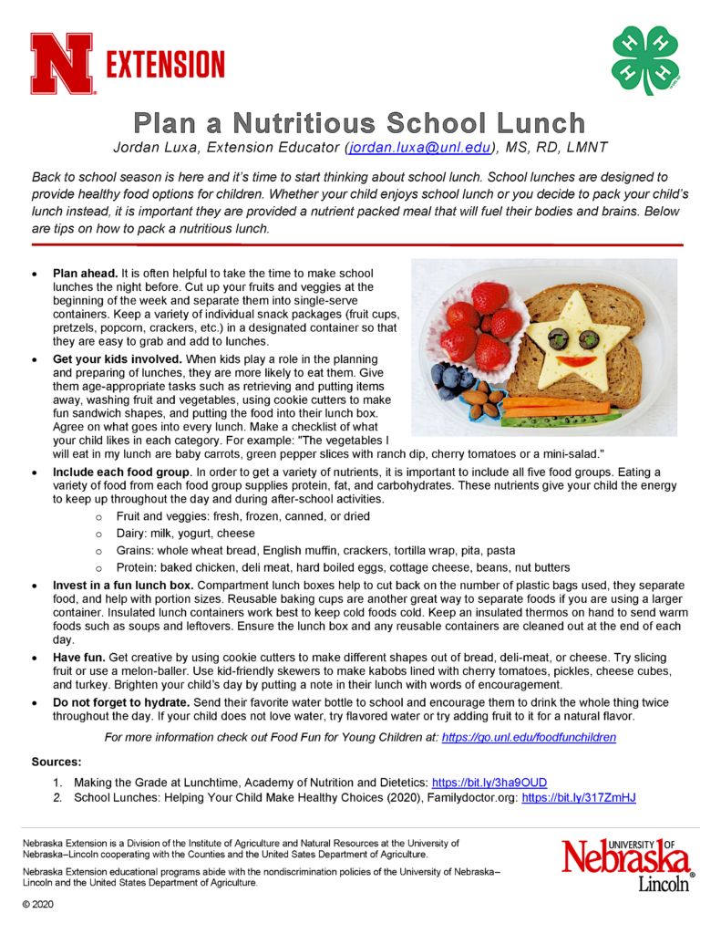 Healthy School Lunches flyer