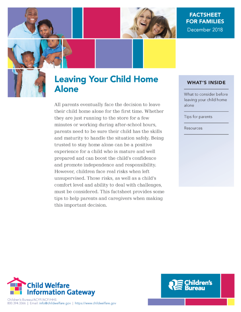 Leaving Your child home alone fact sheet
