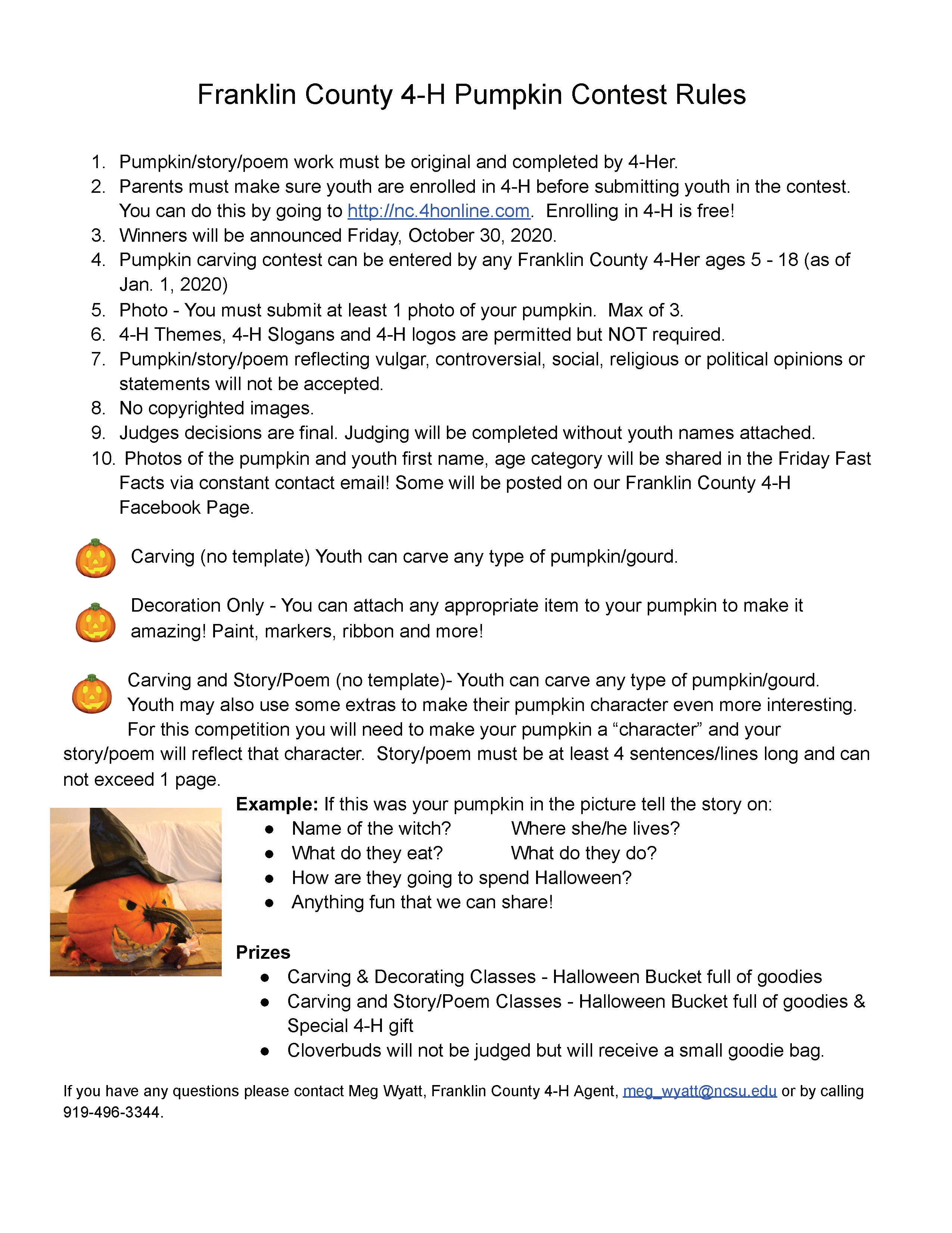 Franklin 4-H Pumpkin Carving, Decorating & Story Contest Rules