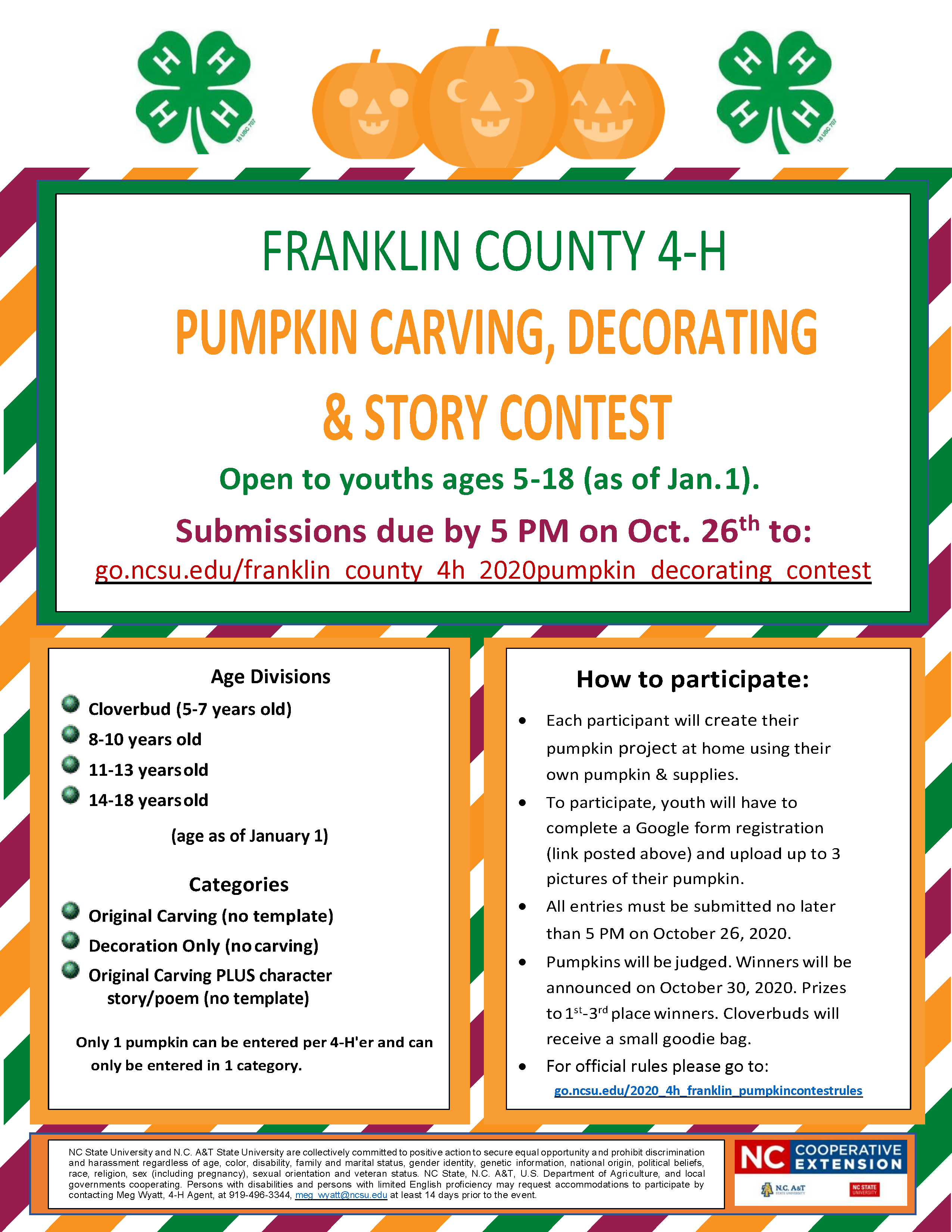 Franklin County 4H 2020 Pumpkin Carving, Decorating and Story Contest flyer