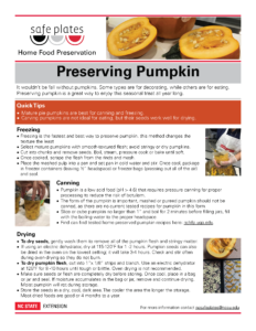 Pumpkin fact sheet