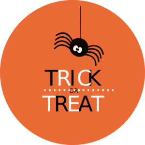 Spider above the words trick or treat on orange circle background