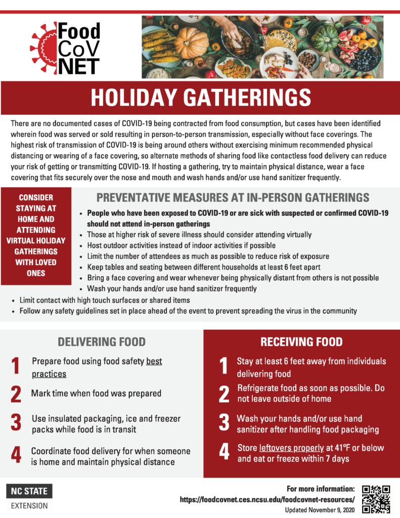 Holiday Gatherings During COVID-19 FoodCoV fact sheet
